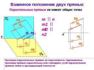 Взаимное положение двух прямых
