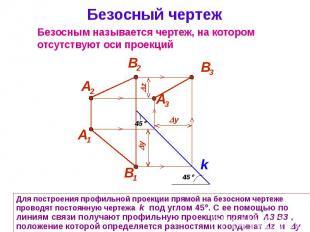 Безосный чертеж Для построения профильной проекции прямой на безосном чертеже пр