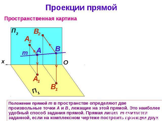 Проекции прямой Положение прямой m в пространстве определяют две произвольные точки А и В, лежащие на этой прямой. Это наиболее удобный способ задания прямой. Прямая линия m считается заданной, если на комплексном чертеже построить проекции двух ее …