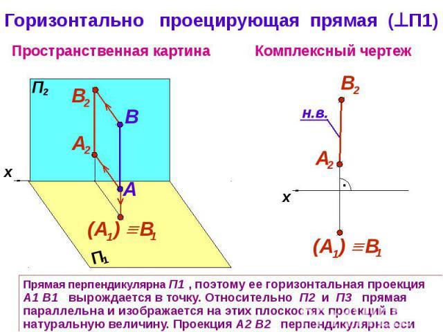 Горизонтально проецирующая прямая (П1) Прямая перпендикулярна П1 , поэтому ее горизонтальная проекция А1 В1 вырождается в точку. Относительно П2 и П3 прямая параллельна и изображается на этих плоскостях проекций в натуральную величину. Проекция А2 В…