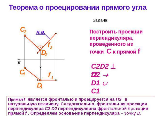 Теорема о проецировании прямого угла