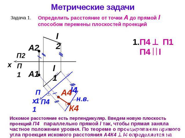 Искомое расстояние есть перпендикуляр. Введем новую плоскость проекций П4 параллельно прямой l так, чтобы прямая заняла частное положение уровня. По теореме о проецировании прямого угла проекция искомого расстояния А4К4 l4 определяется на плоскости …