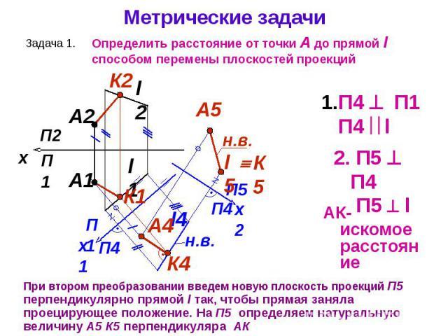 При втором преобразовании введем новую плоскость проекций П5 перпендикулярно прямой l так, чтобы прямая заняла проецирующее положение. На П5 определяем натуральную величину А5 К5 перпендикуляра АК