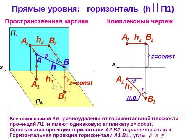 Прямые уровня: горизонталь (h П1) Все точки прямой АВ равноудалены от горизонтальной плоскости про-екций П1 и имеют одинаковую аппликату z= const. Фронтальная проекция горизонтали А2 В2 параллельна оси х. Горизонтальная проекция горизон-тали А1 В1 ,…