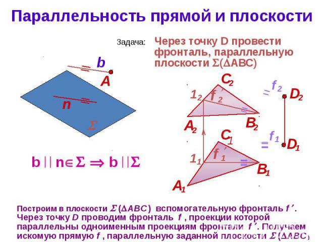 Параллельность прямой и плоскости