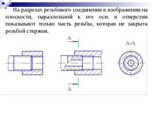 На разрезах резьбового соединения в изображении на плоскости, параллельной к его