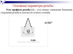 Угол профиля резьбы (α) - угол между смежными боковыми сторонами резьбы в плоско