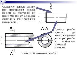 Сплошную тонкую линию при изображении резьбы наносят на расстоянии не менее 0,8