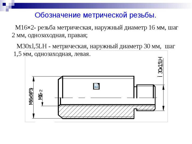 M16×2- резьба метрическая, наружный диаметр 16 мм, шаг 2 мм, однозаходная, правая; M30xl,5LH - метрическая, наружный диаметр 30 мм, шаг 1,5 мм, однозаходная, левая.