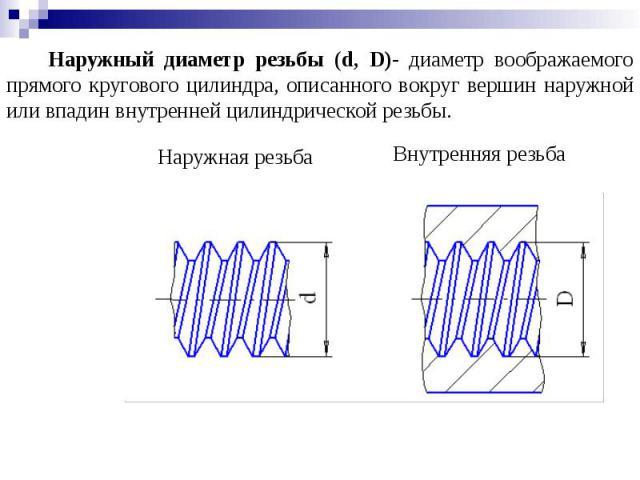 Наружный диаметр резьбы (d, D)- диаметр воображаемого прямого кругового цилиндра, описанного вокруг вершин наружной или впадин внутренней цилиндрической резьбы.