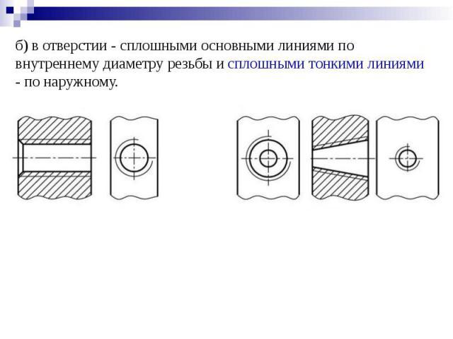 б) в отверстии - сплошными основными линиями по внутреннему диаметру резьбы и сплошными тонкими линиями - по наружному.