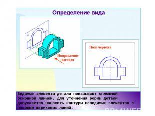 Видимые элементы детали показывают сплошной основной линией. Для уточнения формы