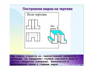 Вид сверху строится на горизонтальной плоскости проекций. Он определяет глубину