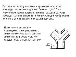 Наклонные параллельные линии штриховки должны проводиться под углом 45° к линии