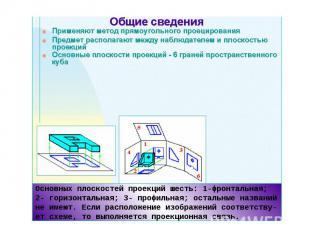 Основных плоскостей проекций шесть: 1-фронтальная; 2- горизонтальная; 3- профиль