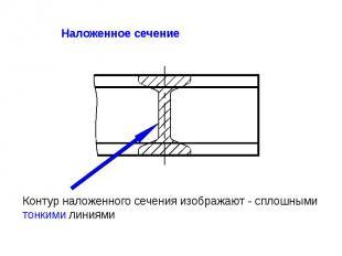 Контур наложенного сечения изображают - сплошными тонкими линиями