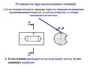 1. Если секущая плоскость проходит через ось поверхности вращения, ограничивающе