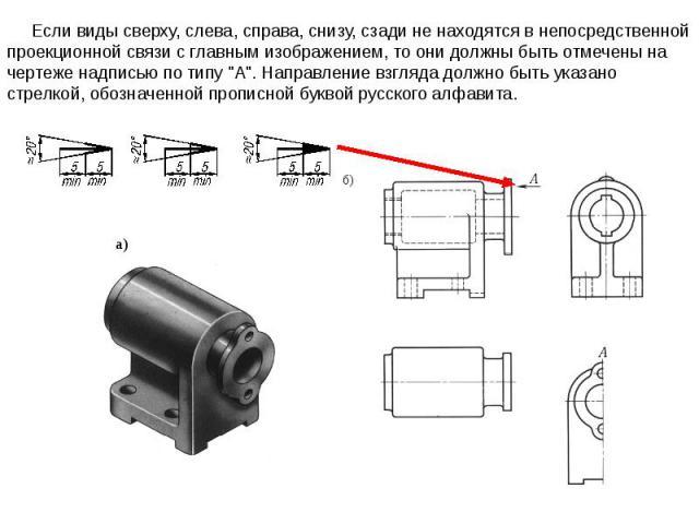 Если виды сверху, слева, справа, снизу, сзади не находятся в непосредственной проекционной связи с главным изображением, то они должны быть отмечены на чертеже надписью по типу