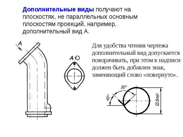 Дополнительные виды получают на плоскостях, не параллельных основным плоскостям проекций, например, дополнительный вид А.