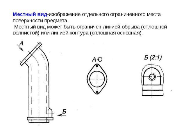 Местный вид-изображение отдельного ограниченного места поверхности предмета. Местный вид может быть ограничен линией обрыва (сплошной волнистой) или линией контура (сплошная основная).