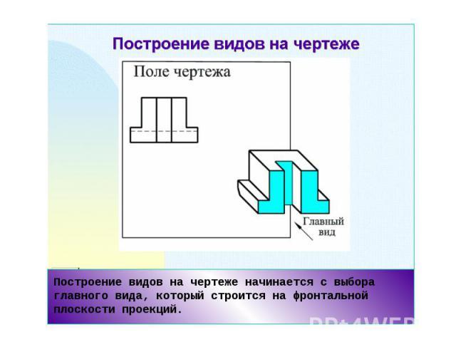Построение видов на чертеже начинается с выбора главного вида, который строится на фронтальной плоскости проекций.