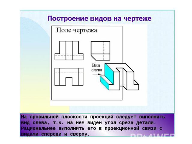 На профильной плоскости проекций следует выполнить вид слева, т.к. на нем виден угол среза детали. Рациональнее выполнить его в проекционной связи с видами спереди и сверху.