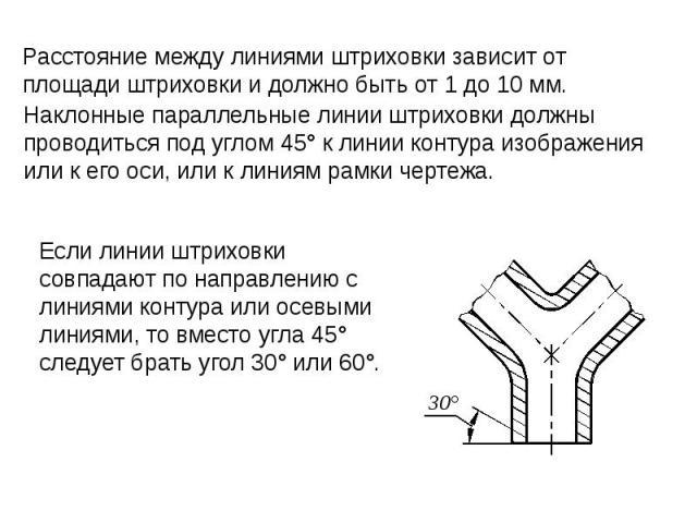 Наклонные параллельные линии штриховки должны проводиться под углом 45° к линии контура изображения или к его оси, или к линиям рамки чертежа.