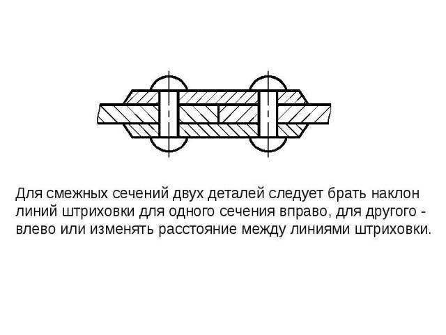 Для смежных сечений двух деталей следует брать наклон линий штриховки для одного сечения вправо, для другого - влево или изменять расстояние между линиями штриховки.