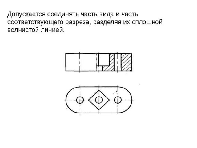 Допускается соединять часть вида и часть соответствующего разреза, разделяя их сплошной волнистой линией.
