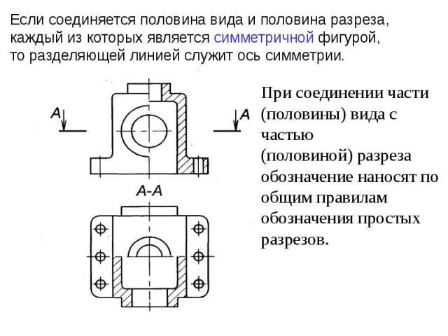 Если соединяется половина вида и половина разреза, каждый из которых является симметричной фигурой, то разделяющей линией служит ось симметрии.При соединении части (половины) вида с частью(половиной) разреза обозначение наносят пообщим правилам обоз…