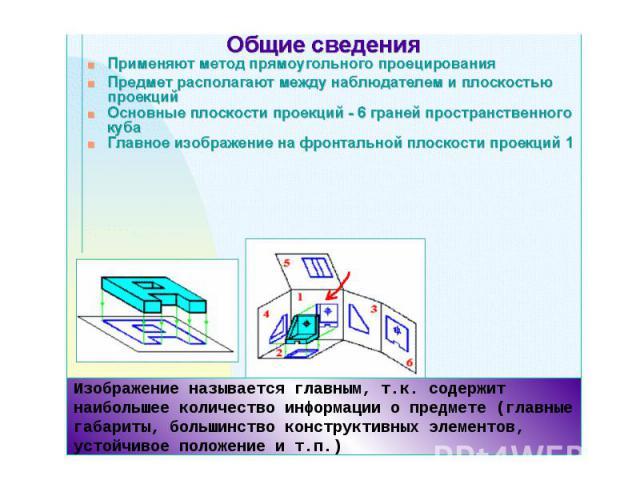 Изображение называется главным, т.к. содержит наибольшее количество информации о предмете (главные габариты, большинство конструктивных элементов, устойчивое положение и т.п.)