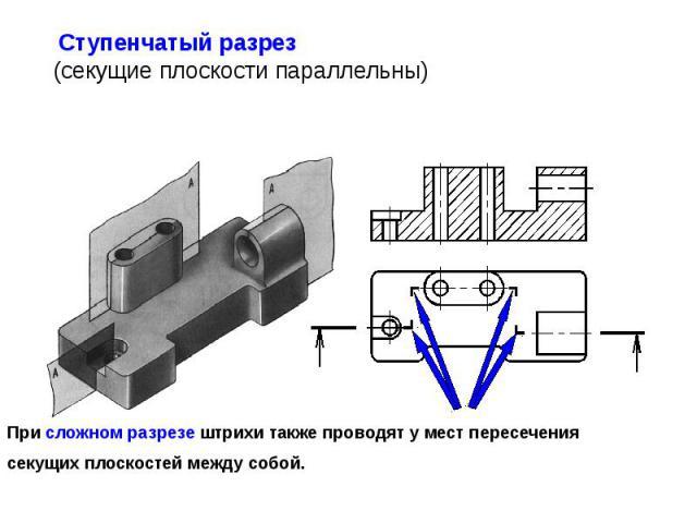 При сложном разрезе штрихи также проводят у мест пересечения секущих плоскостей между собой.
