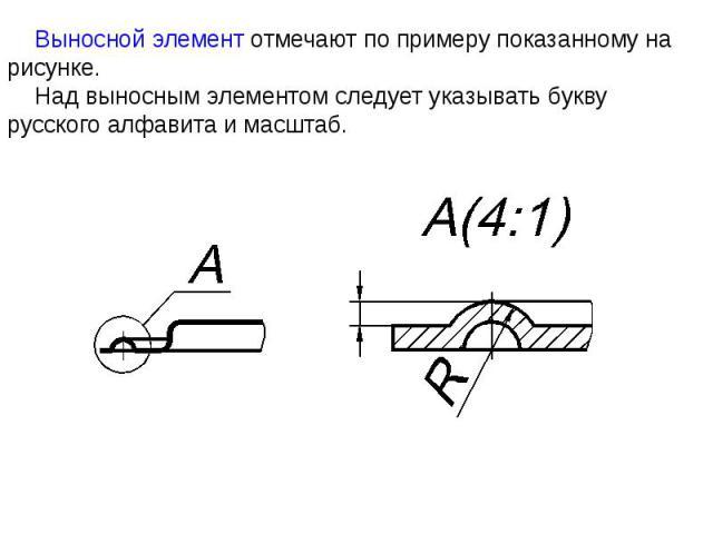 Выносной элемент отмечают по примеру показанному на рисунке. Над выносным элементом следует указывать букву русского алфавита и масштаб.