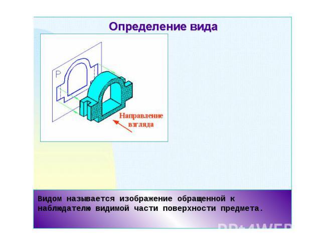 Видом называется изображение обращенной к наблюдателю видимой части поверхности предмета.