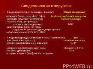 Синдромология в хирургии Синдром воспаления (инфекции, инвазии): Общие синдромы: