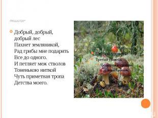 «Добрый лес» муз. Б. Потемкина сл. М. Пляцковского 1 куплет Добрый, добрый, добр