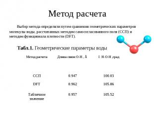 Метод расчета Выбор метода определяли путем сравнения геометрических параметров