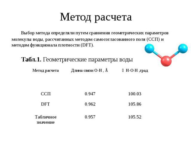 Метод расчета Выбор метода определяли путем сравнения геометрических параметров молекулы воды, рассчитанных методом самосогласованного поля (ССП) и методом функционала плотности (DFT). Табл.1. Геометрические параметры воды