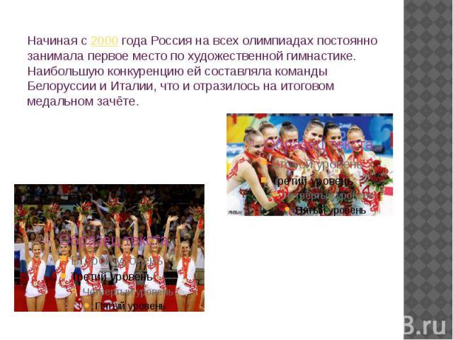Начиная с2000года Россия на всех олимпиадах постоянно занимала первое место по художественной гимнастике. Наибольшую конкуренцию ей составляла команды Белоруссии и Италии, что и отразилось на итоговом медальном зачёте.