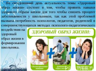 На сегодняшний день актуальность темы «Здоровый образ жизни» состоит в том, чтоб