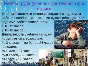 Режим труда (учебной деятельности) и отдыхаУчебные занятия в школе совпадают с п