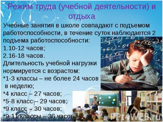 Режим труда (учебной деятельности) и отдыхаУчебные занятия в школе совпадают с подъемом работоспособности, в течение суток наблюдается 2 подъема работоспособности:1.10-12 часов;2.16-18 часов.Длительность учебной нагрузки нормируется с возрастом:*1-3…