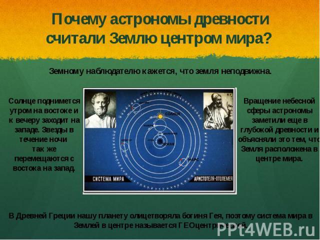 Почему астрономы древности считали Землю центром мира?