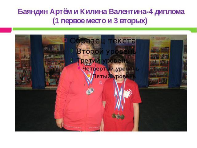 Баяндин Артём и Килина Валентина-4 диплома (1 первое место и 3 вторых)