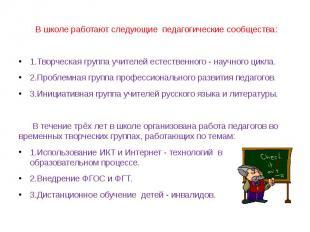 В школе работают следующие педагогические сообщества:1.Творческая группа учителе