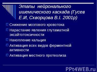Этапы нейронального ишемического каскада (Гусев Е.И, Скворцова В.І. 2001р) Сниже