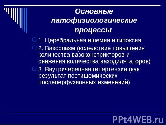 Основные патофизиологические процессы 1. Церебральная ишемия и гипоксия. 2. Вазоспазм (вследствие повышения количества вазоконстрикторов и снижения количества вазодилятаторов) 3. Внутричерепная гипертензия (как результат постишемических послеперфузи…