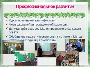 Профессиональное развитие Курсы повышения квалификации, Член школьной аттестацио
