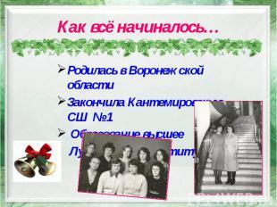 Как всё начиналось… Родилась в Воронежской области Закончила Кантемировскую СШ №