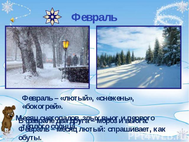 Февраль – «лютый», «снежень», «бокогрей». Февраль – «лютый», «снежень», «бокогрей». Месяц снегопадов, злых вьюг и первого тёплого солнца.